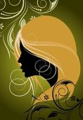 Floral background with the silhouette of a girl — Stock Vector
