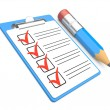 Checklist and Clipboard with white background — Stock Photo