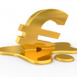 Foto Stock: Melting euro sign.