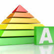 Pyramid with six colored levels — Stock Photo