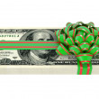 Gift of money, dollars bank notes, tied a red ribbon with a bow — Stock Photo #8171326