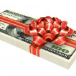 Gift of money, dollars bank notes, tied a red ribbon with a bow - Stock Photo