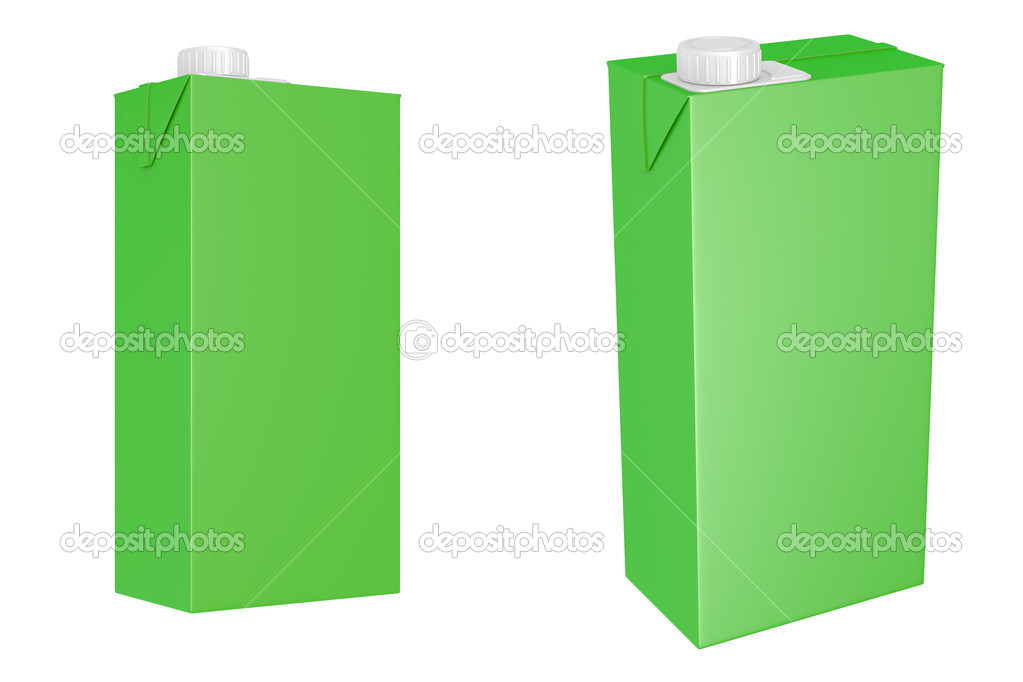 Milk or juice carton packages isolated on white background, 3d illustration — Stock Photo #8688149