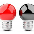 Foto Stock: Red and black light bulb
