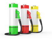 Bicos de bomba de gasolina em um posto de combustível — Foto Stock