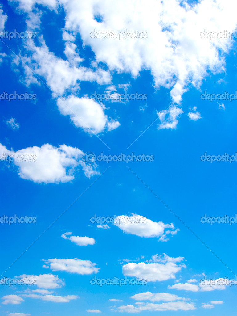 Blue sky background with white clouds  Stock Photo #10465530