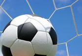 Pallone da calcio in una rete — Foto Stock
