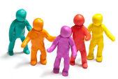 Colorful plasticine guys. Team concept — Stock Photo