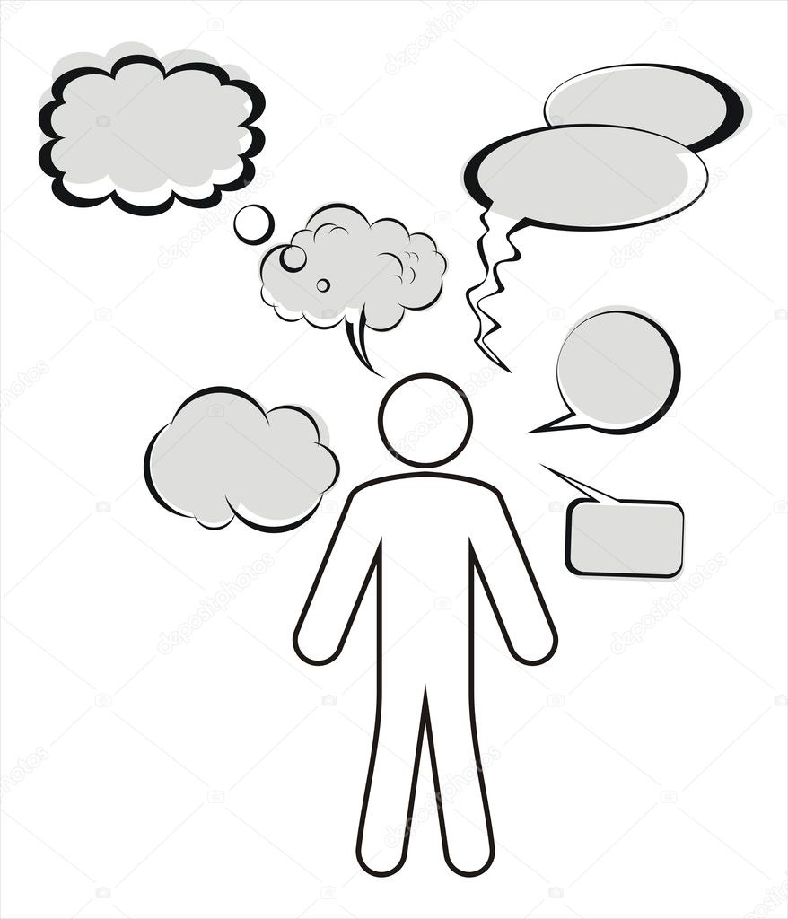 Silhouette Of Person With Thought Bubbles Stock Vector
