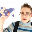 Student drawing world map on the whiteboard — Stock Photo