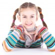 Stock Photo: Adorable little girl isolated on white background