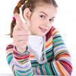 Youth girl pointing on you with her index finger — Stock Photo