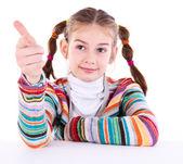 美しい少女を人差し指であなたを指しています。 — ストック写真