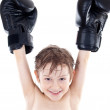 Happy little boy boxer winner — Stockfoto
