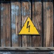 Old high voltage warning sign — Stock Photo
