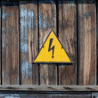 Stock Photo: Old high voltage warning sign