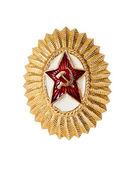 Abzeichen auf sowjetischen offizier mütze — Stockfoto