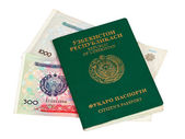 Uzbekistan passport and money isolated on white background — Stock Photo