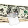 Package with a drug against the U.S. dollars — Stock Photo
