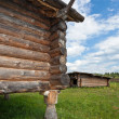 Ancient traditional russian wooden house X century, fragment. — Stock Photo