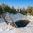 Winter ice-hole on the river — Stock Photo