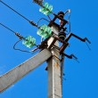High voltage electricity pylon — Stock Photo