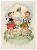 GDR - CIRCA 1954: Retro postcard printed in the East Germany (GD — Stock Photo
