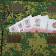 Stock Photo: Banknotes in military uniform pocket