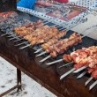 Appetizing fresh meat shish kebab (shashlik)  prepared on a gril — Stock Photo