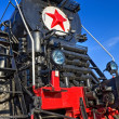 Old steam locomotive with red star — Stock Photo