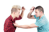 Two man screaming on each other — Stock Photo