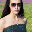 Stock Photo: Beautiful brunette womin sunglases