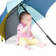 Cute baby girl under umbrella — Stock Photo