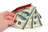 Female hand takes the dollar bill — Foto de Stock