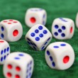 Dice on the baize — Stock Photo