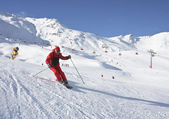 The man is skiing at a ski resort Solden — Stock Photo