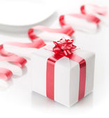 Romantic present in a box on a white background. — Foto de Stock