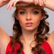 Girl in the red dress - Stockfoto