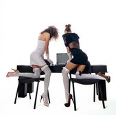 Sexy two women at office with a laptop — Stock Photo
