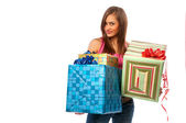 Kadın holding kutular hediye — Stok fotoğraf