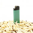 Stock Photo: Lighter and matches