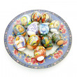 Easter eggs on a plate — Stock Photo