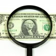 Dollar and magnifier — Stock Photo