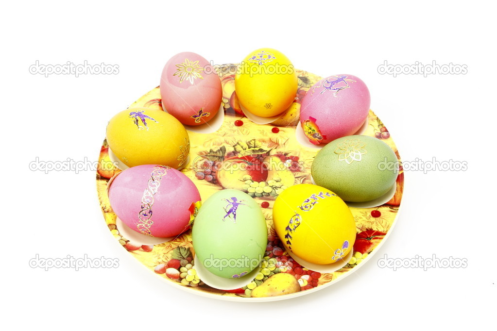 Easter eggs on your plate with drawing — Stock Photo #10189966
