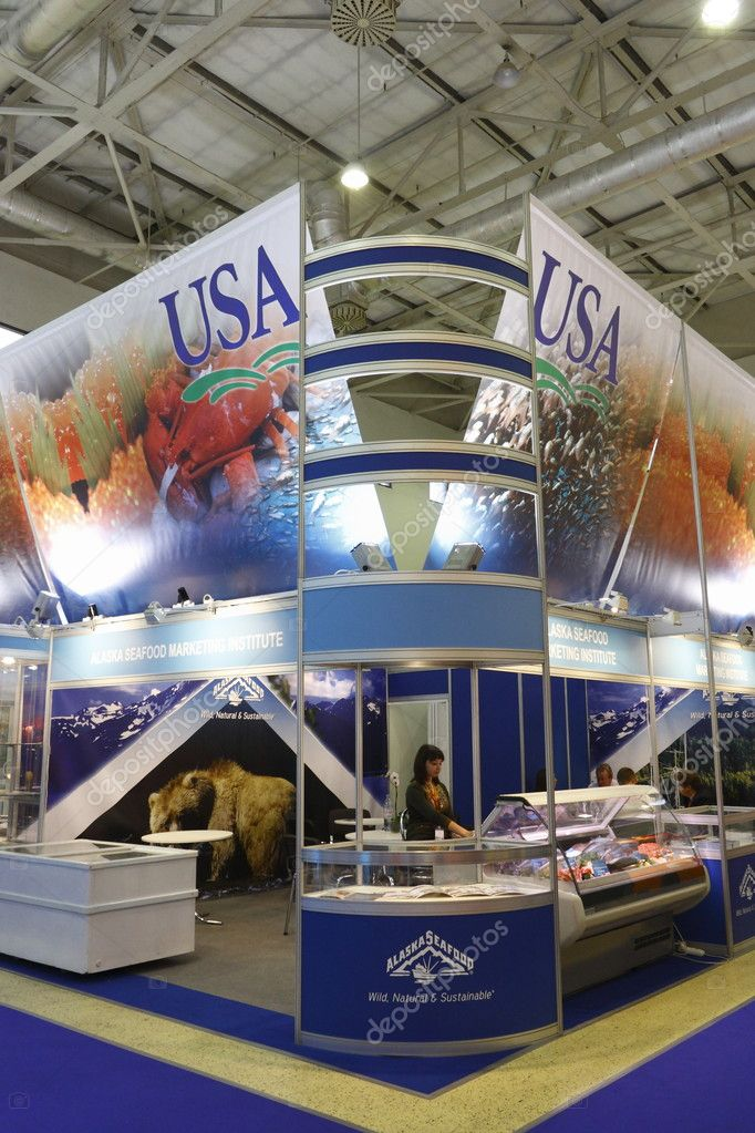 MOSCOW-SEPTEMBER 13: Exposition of the American company in the wholesale trade in food products at International Food & Drinks Exhibition on September 13, 2011 in Moscow — Stock Photo #10295460