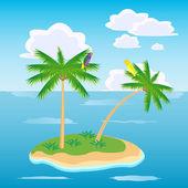 Island in ocean — Stock Vector