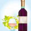 Stock Vector: Bottle blame and grape