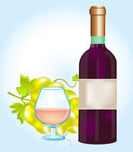 Bottle blame and grape — Stock Vector