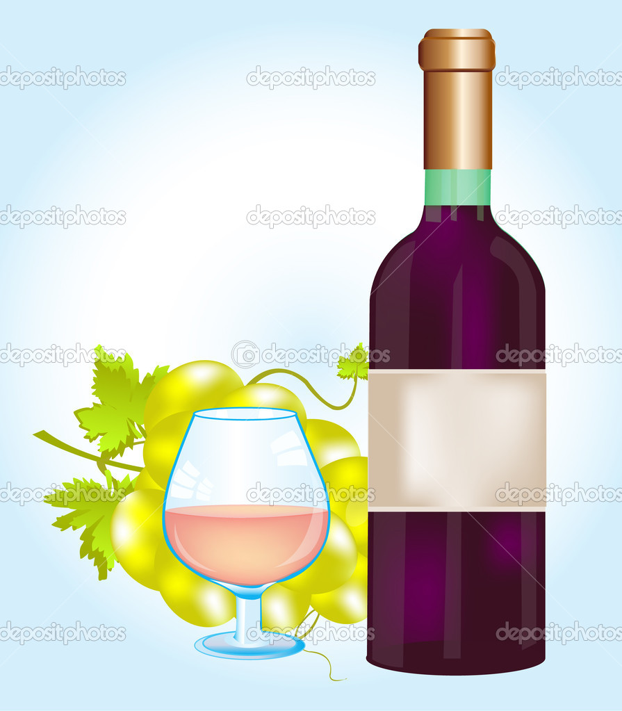 Illustration of the bottle red blame and grape — Stock Vector #8881214