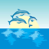 Dolphins on sunrise — Stock Vector